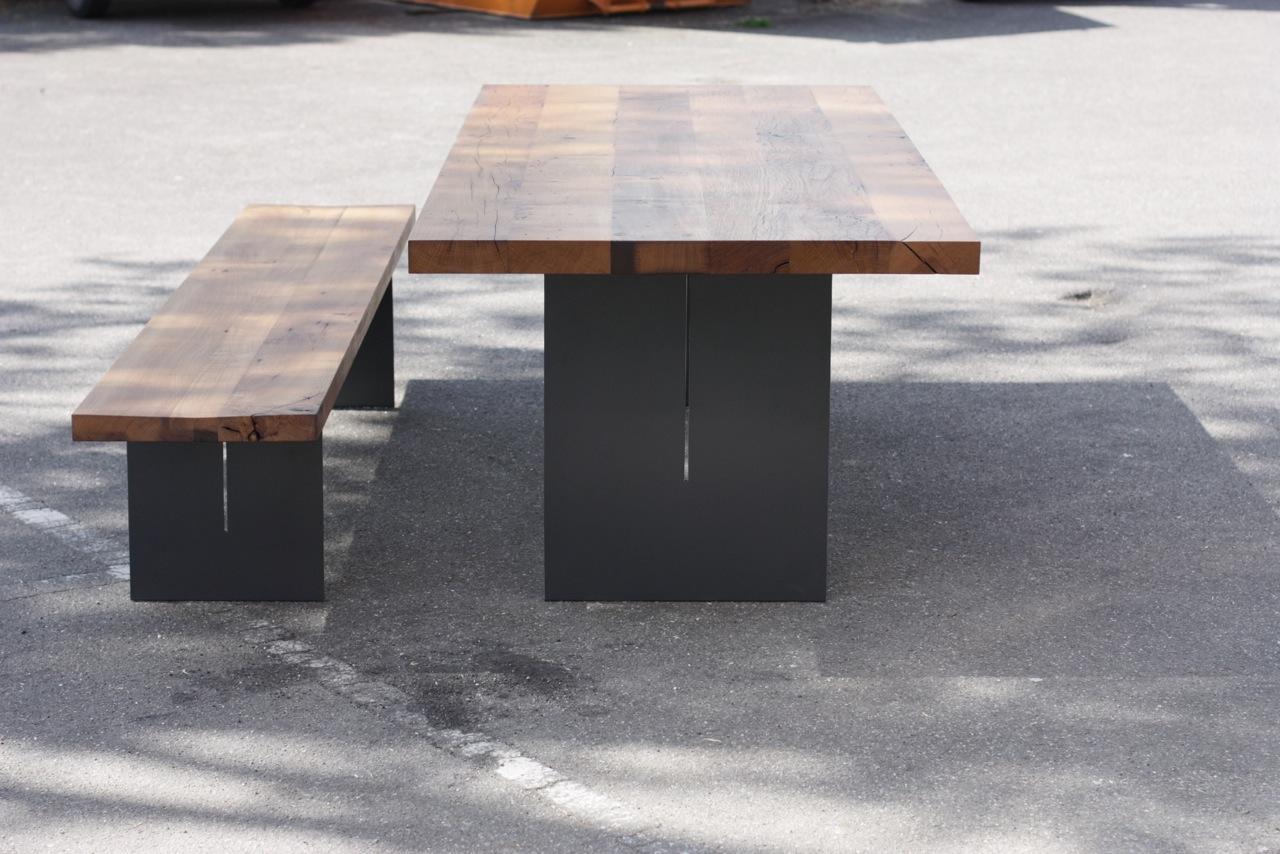 Untergestell Stahl DB 703 Grau, Tischplatte Eiche Altholz